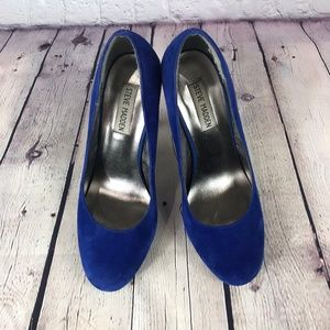 Steve Madden Blue Suede Stiletto Pump Heel Shoes